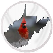 Red Cardinal Looking For Food Round Beach Towel by Dan Friend