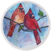 Red Cardinals Round Beach Towel