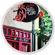 Red Cat Jazz Cafe Round Beach Towel