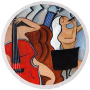 Red Cello 2 Round Beach Towel
