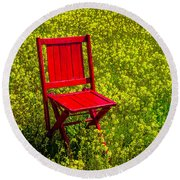 Red Chair Amoung Wildflowers Round Beach Towel