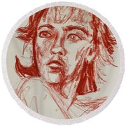 Red Charcoal Sketch 6481 Round Beach Towel