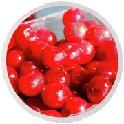 Red Cherries Round Beach Towel