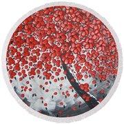 Red Cherry Tree Round Beach Towel