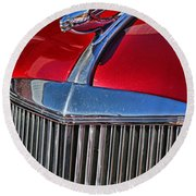 Red Chevrolet Grill And Hood Ornament Round Beach Towel