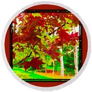 Red Chinese Maple Leaf's Round Beach Towel