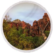 Red Cliffs Mountains Zion National Park Utah Usa Round Beach Towel
