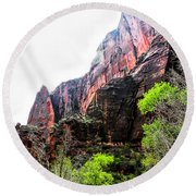 Red Cliffs Zion National Park Utah Usa Round Beach Towel
