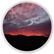 Red Cloud Sunset Round Beach Towel
