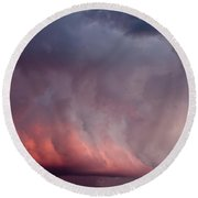 Red Clouds On The Evening Sky Round Beach Towel