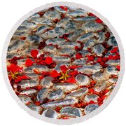 Red Cobblestone Road Round Beach Towel