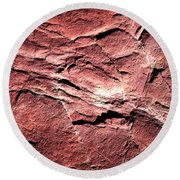Red Colored Limestone With Grooves Round Beach Towel