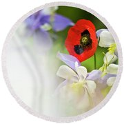 Red Corn Poppy Round Beach Towel