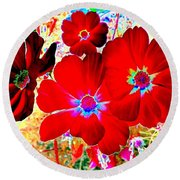 Red Cosmos Round Beach Towel