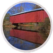 Red Covered Bridge And Reflection Round Beach Towel