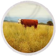 Red Cow On The Blue Ridge Round Beach Towel