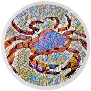 Red Crab Stained Glass Round Beach Towel