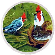 Red-crested Cardinal Birds #77 Round Beach Towel