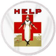 Red Cross Nurse - Help Round Beach Towel