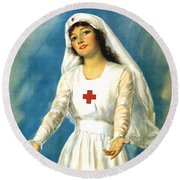 Red Cross Nurse - Ww1 Round Beach Towel