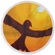 Red Crow Repulsing The Monkey Original Painting Round Beach Towel