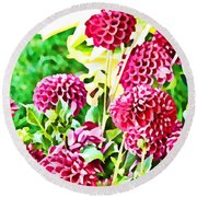 Red Dahlias Round Beach Towel