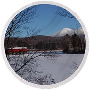 Red Dam And Percy Peaks In Winter Round Beach Towel