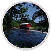Red Dam In Summer #2 Round Beach Towel
