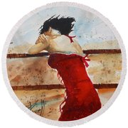 Red Dancer Round Beach Towel