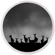Red Deer On The Hill Round Beach Towel