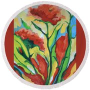 Red Delight Round Beach Towel