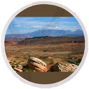 Red Desert With La Sal Mountains Round Beach Towel