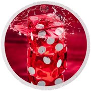 Red Dice Splash Round Beach Towel