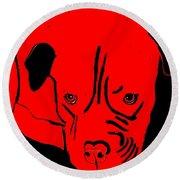 Red Dog Round Beach Towel