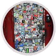 Red Doorway With Stickers Round Beach Towel