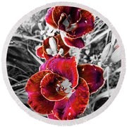 Red Double Lily Round Beach Towel