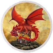 Red Dragon's Treasure Chest Round Beach Towel