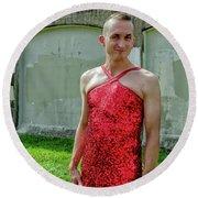 Red Dress Run - Nola 7 Round Beach Towel