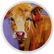 Red Earring Cow Round Beach Towel