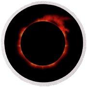 Red Eclipse Round Beach Towel