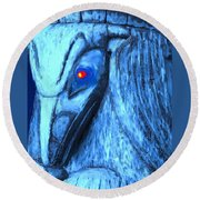 Red Eyed Raven Round Beach Towel