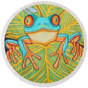 Red Eyed Tree Frog And Dragonfly Round Beach Towel