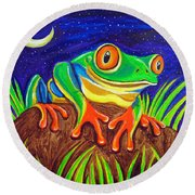 Red-eyed Tree Frog And Starry Night Round Beach Towel