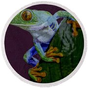 Red Eyed Tree Frog Original Oil Painting 4x6in Round Beach Towel
