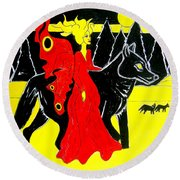 Red Faerie And Black Wolf With Yellow Moon Round Beach Towel