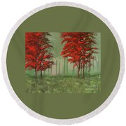 Red Fall  Round Beach Towel