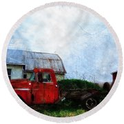 Red Farm Truck Round Beach Towel