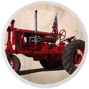 Red Farmall Tractor Round Beach Towel