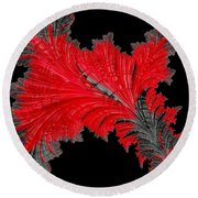 Red Feather - Abstract Round Beach Towel