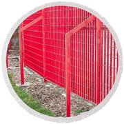 Red Fence Round Beach Towel